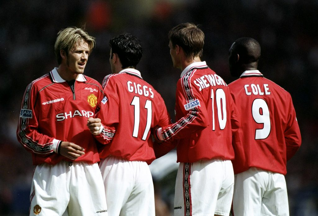 David Beckham Ryan Giggs Teddy Sheringham Andy Cole Manchester United